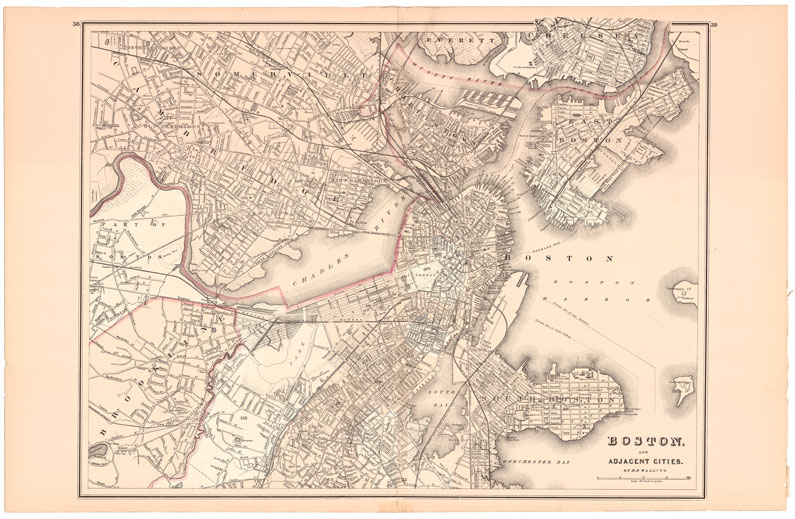 Map of Boston and Adjacent Cities in 1881